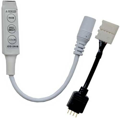 Ecola Контроллер 12V 72W(24V 144W) 6A RGB mini с переходником с кнопками для управления CRMM72ESB