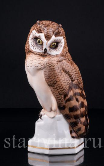 Фарфоровая статуэтка птицы Сова производства Hertwig & Co, Katzhutte, Германия