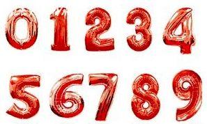 Фольгированная цифра (Красная)
