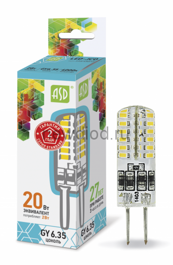 Лампа светодиодная LED-JCD-standard 2Вт 160-260В GY6,35 4000К 180Лм ASD