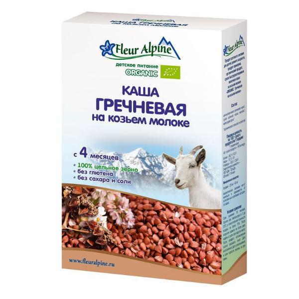 Флёр Альпин - каша на козьем молоке Органик гречневая, 4 мес., 200 гр.