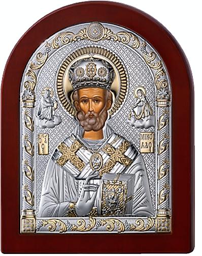 Серебряная икона Николая Чудотворца (Италия, прозрачный лак, повышенное качество!)