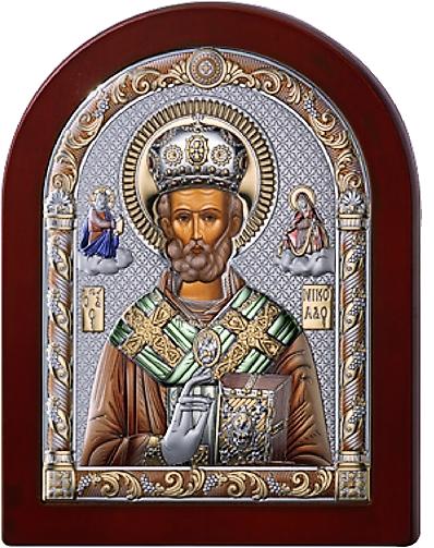 Серебряная икона Николая Чудотворца (Италия, цветной лак, повышенное качество!)