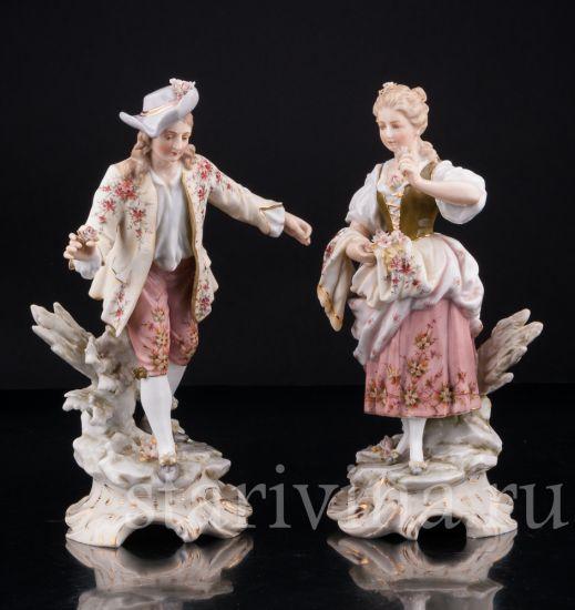 Изображение Галантная пара с цветами, Volkstedt, Германия, кон. 19 в
