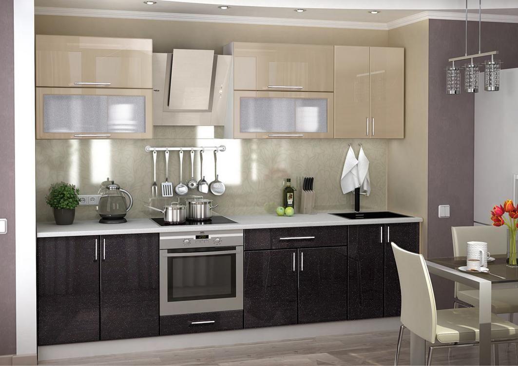 Кухонный гарнитур (Фасады МДФ - чёрный + какао) - эконом