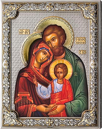 Серебряная икона Святое Семейство (листовое серебро, Италия, повышенное качество)