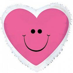 Шар (18''/46 см) Сердце с улыбкой