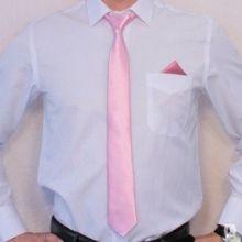 Узкий Розовый галстук 38 см