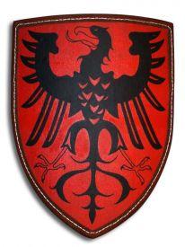 Щит рыцарский с немецким орлом на красном поле.
