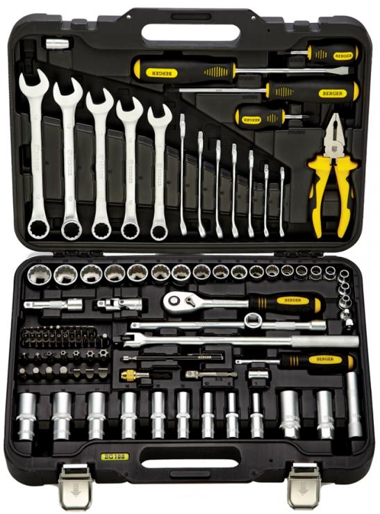 Универсальный набор инструментов 100 предметов BERGER BG100-3814