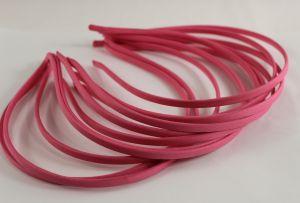Ободок металл обтянутый тканью 5 мм, цвет: ярко-розовый (1уп = 12шт)