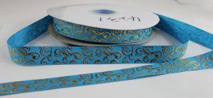 Лента репсовая с рисунком, ширина 22 мм, длина 10 метров цвет: голубой, Арт. ЛР5655-12