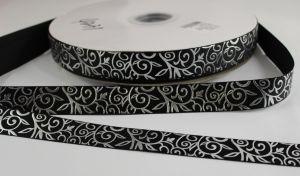 Лента репсовая с рисунком, ширина 22 мм, длина 10 метров цвет: черный, Арт. ЛР5370-7