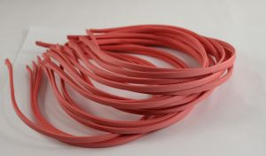 `Ободок металл обтянутый тканью 5 мм, цвет: коралловый
