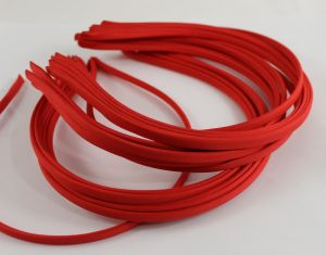 `Ободок металл обтянутый тканью 5 мм, цвет: красный