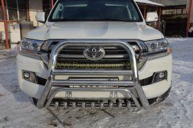 Защита переднего бампера  76/60/42 мм  для Toyota Land Cruiser 200 2015 -