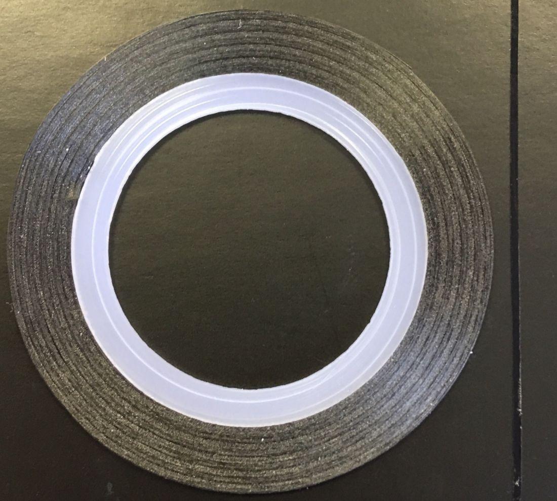 Наклейка-лента для дизайна ногтей в рулоне (0.8мм) матовая (черная)