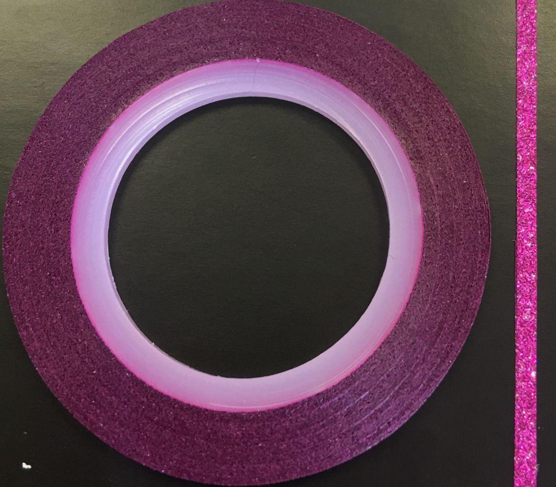 Наклейка-лента для дизайна ногтей в рулоне (2мм) мерцание (фуксия)