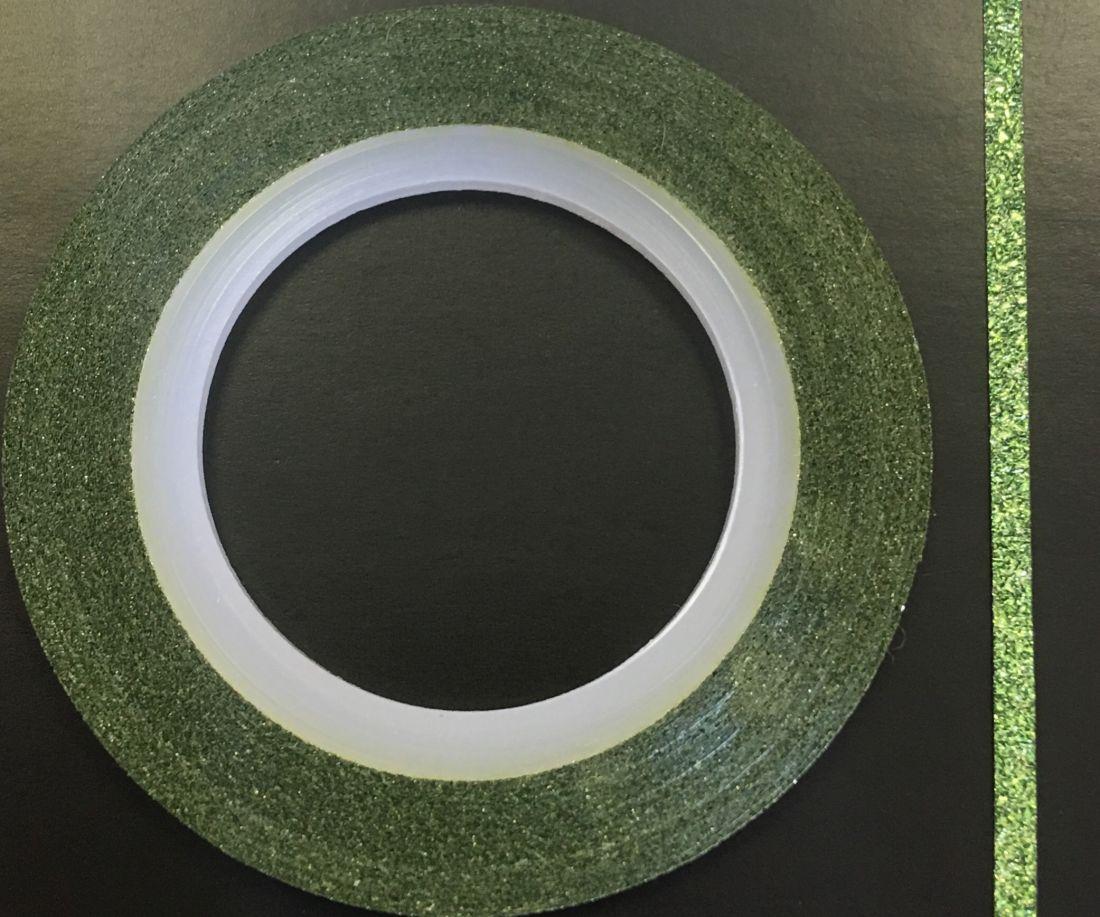Наклейка-лента для дизайна ногтей в рулоне (2мм) мерцание (зеленый)