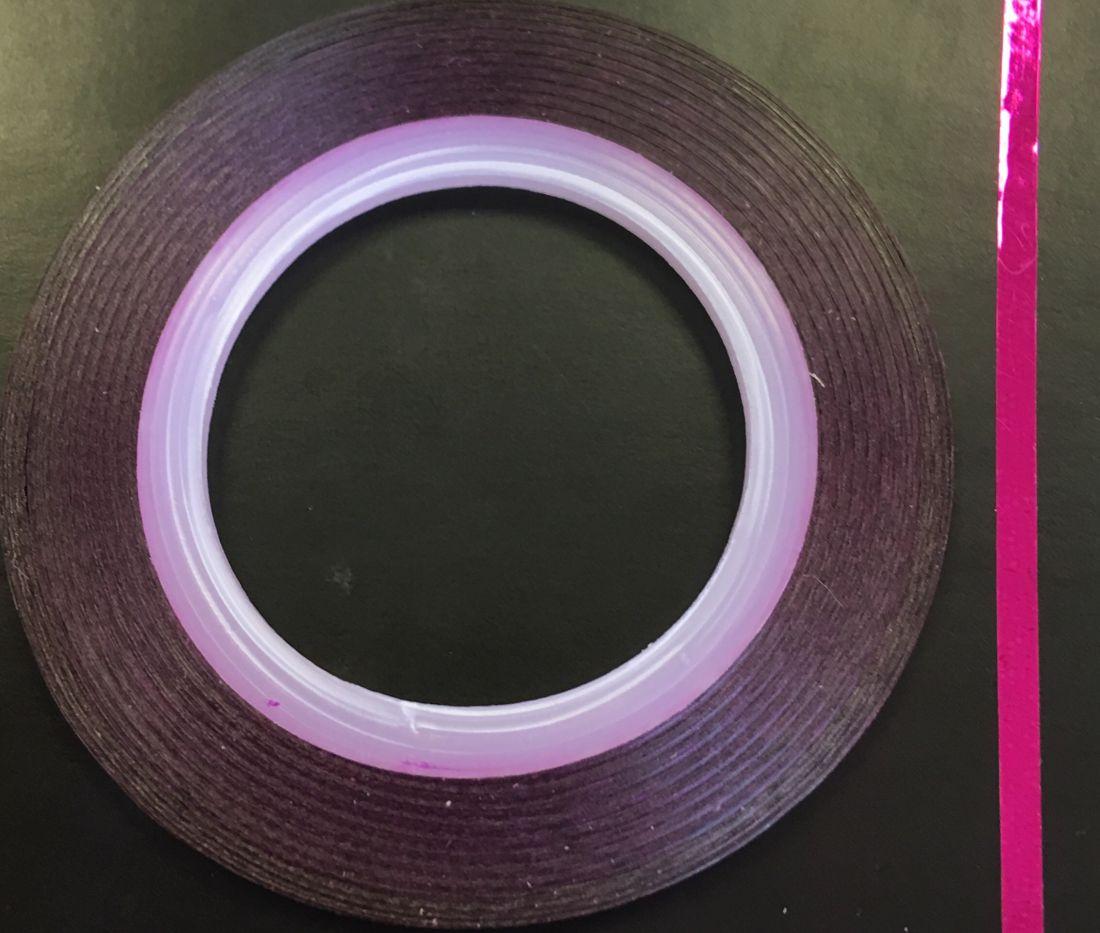 Наклейка-лента для дизайна ногтей в рулоне (2мм) глянец (фуксия)