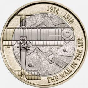 Авиация.Первая Мировая Война. 2 фунта Великобритания 2017