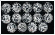 3 рубля 2014 Виды спорта Олимпиады в Сочи комплект 14 шт. посеребрение