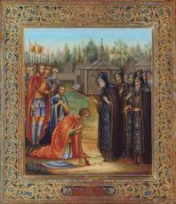 Икона Сергий Ранонежский благословляет Дмитрия Донского на Куликовскую битву