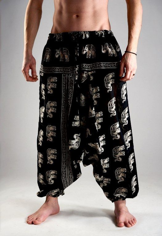 Мужские индийские штаны афгани со слонами