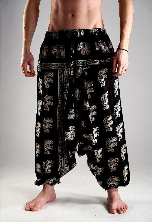 Мужские индийские штаны афгани со слонами (отправка из Индии)