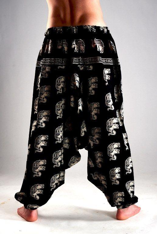 Мужские чёрные индийские штаны афгани с белыми слонами (Москва)