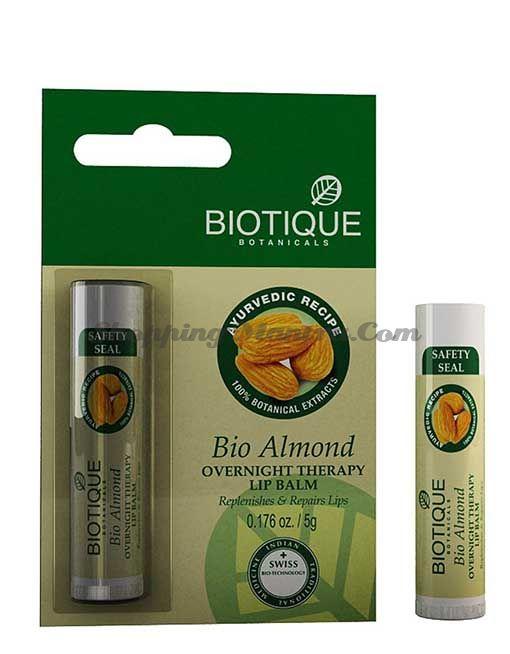 Бальзам для ночного ухода за кожей губ Биотик Миндаль   Biotique Bio Almond Overnight Therapy Lip Balm New