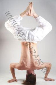 Белые штаны алладины для йоги из ВИСКОЗЫ, унисекс (Москва)