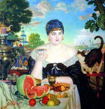 Купчиха за чаем (Репродукция Бориса Кустодиева)