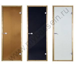 Дверь сосна STG 8×19 (Harvia), стекло сатин