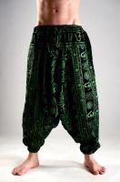 Мужские индийские штаны афгани с символами ОМ, натуральный хлопок