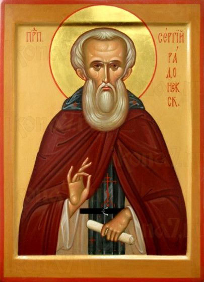 Сергий Радонежский (рукописная икона)