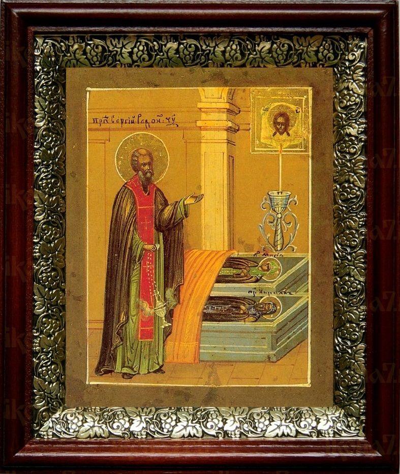 Сергий Радонежский у гроба родителей (19х22), темный киот