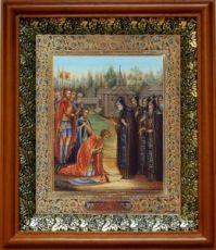 Сергий Радонежский благословляет Дмитрия на Куликовскую битву (19х22), светлый киот
