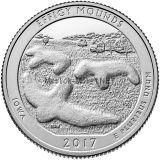 25 центов США 2017, 36-й Национальный памятник Эффиджи-Маундз. Effigy Mounds National Monument