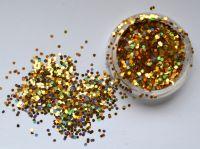 Шестиугольники для дизайна ногтей, золото голограмма