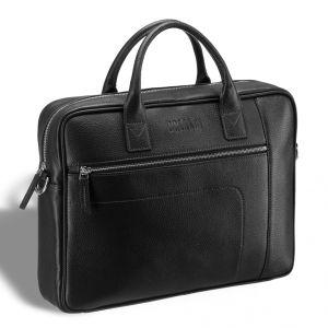 Классическая деловая сумка для документов BRIALDI Rochester (Рочестер) relief black