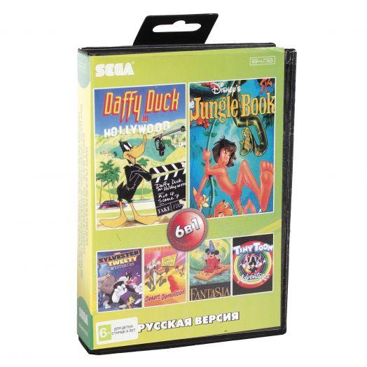 Sega картридж 6в1 (BS-6001 RU) Daffy Duck / Jungle Book  / Sylwester & Tweety +..