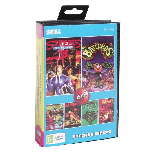 Sega картридж 6в1 (AA-6106) BARE KNUCKLE 3 /RAMBO 3 /BATTLE TOADS 1,2+..