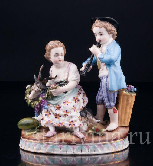 Изображение Мальчик с дудочкой и девочка с козочкой, Sitzendorf, Германия, кон.19 в