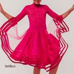 Рейтинговое платье для спортивных танцев, вишневое
