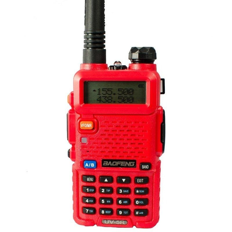 Рация Baofeng UV-5R красная с гарнитурой (2 режима мощности)