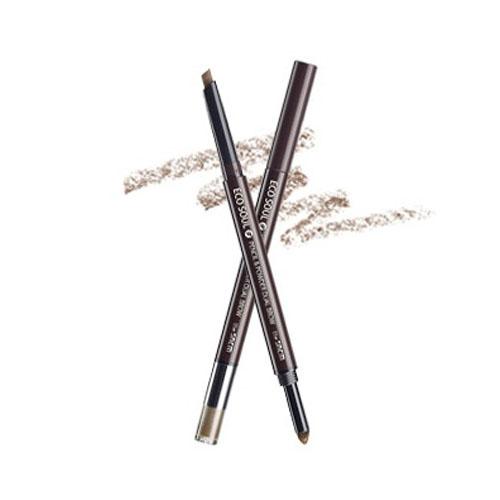 АКЦИЯ! Корейский карандаш-пудра для бровей SAEM Eco Soul Pencil & Powder Dual Brow 02 DEEP BROWN
