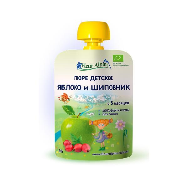 Флёр Альпин - пюре Органик яблоко-шиповник (пауч), 5 мес., 90 г.