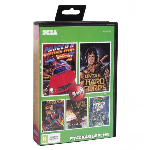 Sega картридж 5в1 (AB-5013) MORTAL KOMBAT 3/CONTRA/TMHT /SPIDER-MAN+..