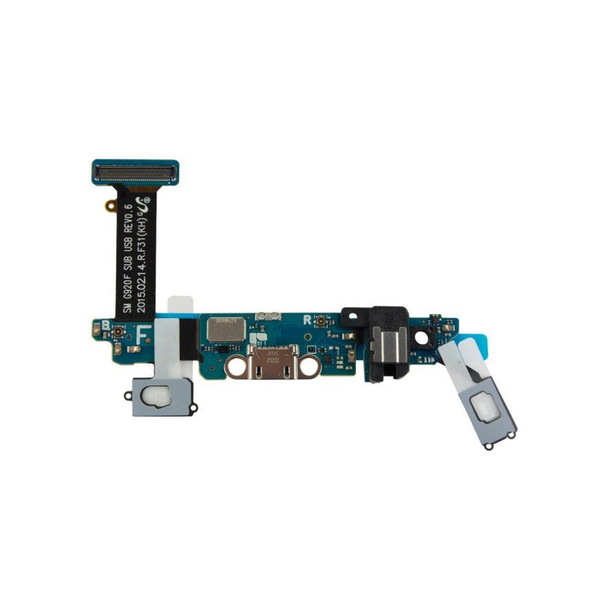 Шлейф с разъемом зарядки для Samsung Galaxy S6 G920F + разъем наушников + нижняя плата (копия AAA)